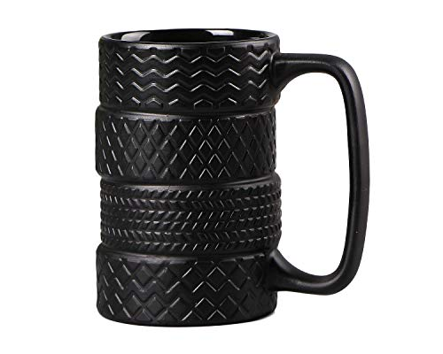 VanEnjoy 3D Cool Black Tyre Tire Shaped Frosted Ceramic Mug Large Coffee Tea Cup Unique Gifts Car Fans 13 oz(400ml)