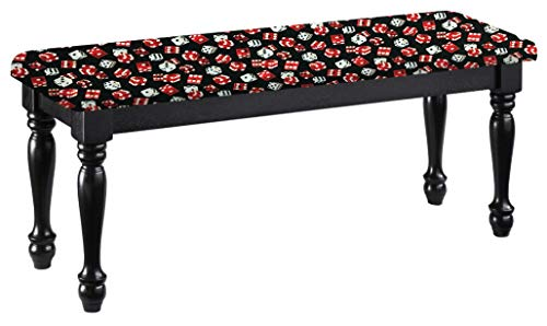 (Traditional Farmhouse Style Dining Bench with Black Legs and a Padded Seat Cushion Featuring Your Favorite Novelty Themed Fabric Covered Bench Top (Dice))