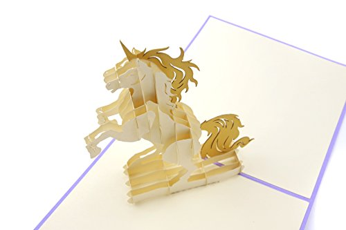 PopLife Colorful Unicorn 3D Pop Up Greeting Card for All Occasions - Animal Lovers, Rainbow Theme, Magic Creatures - Folds Flat, Perfect for Mailing - Birthday, Graduation, Thank You, Mother's Day