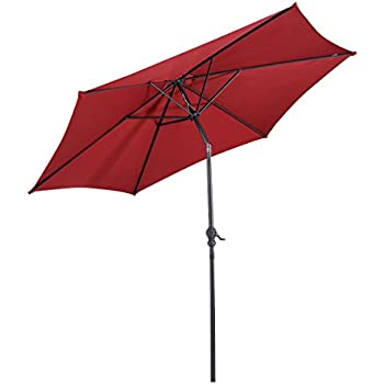 Giantex 9ft Patio Umbrella Patio Market Steel Tilt W/ Crank Outdoor Yard  Garden (Burgundy