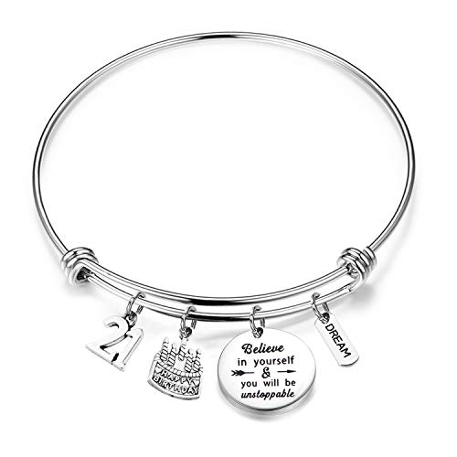FUSTYLE Birthday Bracelet 12th 13th 16th 18th 21st Birthday Jewelry Gift Inspirational Bracelet Happy Birthday Gift for Daughter Best Friend (21st)