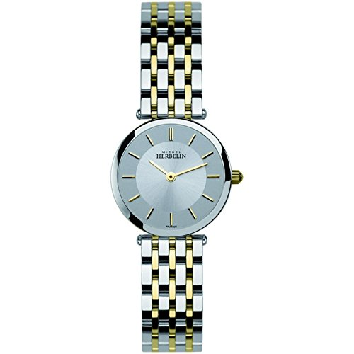 Michel Herbelin Women's Two Tone Steel Bracelet Steel Case Quartz Silver-Tone Dial Analog Watch 1045/BT12