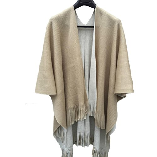 Hot Sales FimKaul Women Knitted Cashmere Poncho Capes Shawl Cardigans Sweater Coat (Beige) by FimKaul (Image #1)