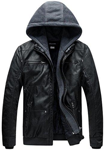 Wantdo Homme Veste en Simili Cuir Manteau Chaud Coupe-Vent Moto Rétro Multi-Poches Blouson en PU Capuche Amovible Veste…