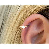 Helix Hoop Earring Gold Ear Piercing Wrapped Ring with White Opal 18 Gauge