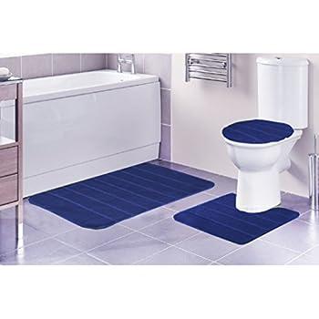 Louise Ribbed 3 Piece Bathroom Rug Set, Bath Rug, Contour Rug, Lid Cover ( Navy)