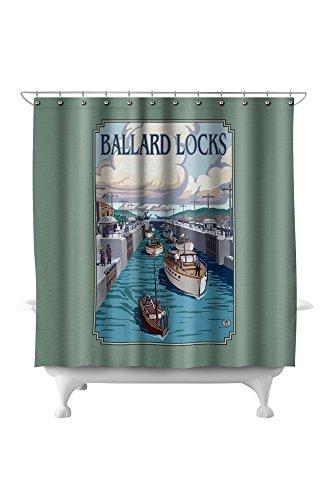 Seattle, Washington - Ballard Locks (71x74 Polyester Shower Curtain) ()