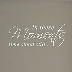 In These Moments Time Stood Still Home Wall Decal Sticker Family Quote Art #1292 (28 Wide X 11.5 High) (Matte White)