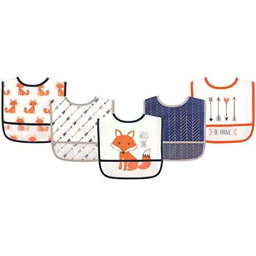 Hudson Baby Waterproof Bib with Crumb Catcher Pocket, Fox from Hudson Baby