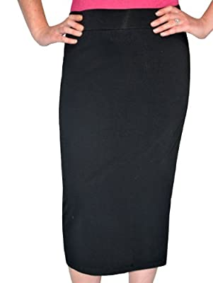 Kosher Casual Women's Modest Midi Lightweight Cotton Lycra Tapered Pencil Skirt