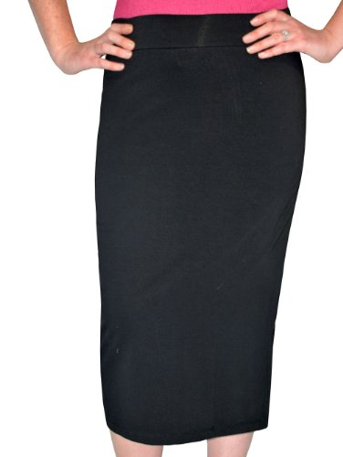 Kosher Casual Women's Modest Midi Lightweight Cotton Lycra Tapered Pencil Skirt Small Black