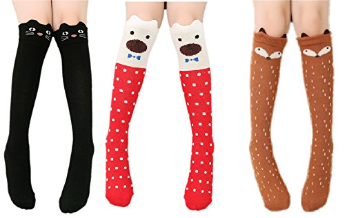 (Cartoon Knee-high Long Socks Cable-knit School Uniform Socks Cosplay Socks, 3 Colors, One)