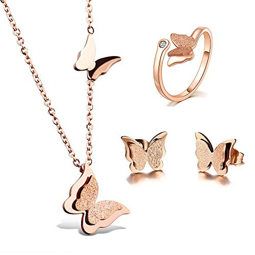 BAFOME 18k Rose Gold Stainless Steel Butterfly Jewelry Set Necklace Ring Stud Earrings Best Gift for Women Girl (Adjustable Ring) (Butterfly Gold Jewelry Set)