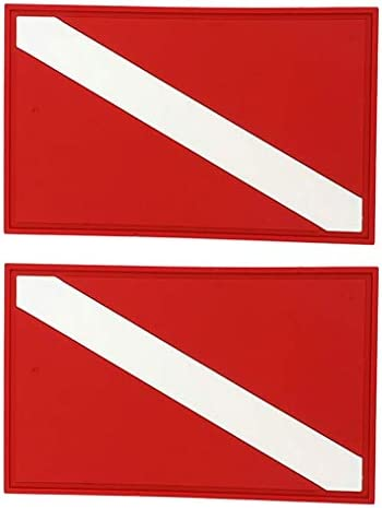 Perfeclan スキューバ ダイビング 旗 安全 信号マーカー バナー ボートフラグ パッチ バッジ 2点セット