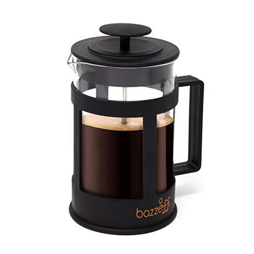 Bazzeff Prensa Francesa de Vidrio/Cafetera Francesa. Color Negro. Para Café o Tisana. Disponible en 350 ml (2 tazas) 800 ml (5 tazas) y 1 Litro (6 Tazas). (800 ml)