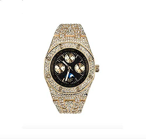 Chronograph Bust Down AP Watch Supreme Necklace Rapper Bling Rollex Skelton Iced Out Hip Hop Watch Cubic Zirconia Diamonds Gold Color Silver (Gold)