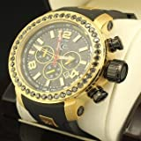 kc techno - Kc Techno Genuine Black Diamond 5 Ct Look Real Stainless Steel Gold Finish Watch