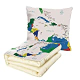 iPrint Quilt Dual-Use Pillow Map Central America and The Caribbean Islands Map Countries Cities Names Regions Locations Multifunctional Air-Conditioning Quilt Multicolor