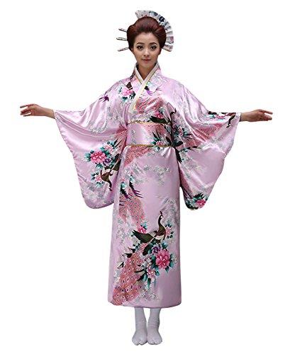 CRB Womens Girls Kimono Japanese Asian Top Dress Robe Sash Belt Fan Set (USA Adult XS, Pink) (Asian Costumes For Kids)