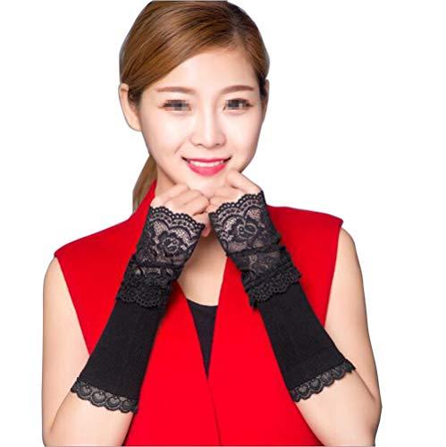 Women Black Lace Arm Sleeve...