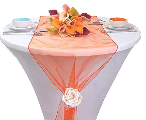 mds Pack of 10 Wedding 12 x 108 inch Organza Table Runners for Wedding Banquet Decor Dining Room Table Runner- Light Orage ()