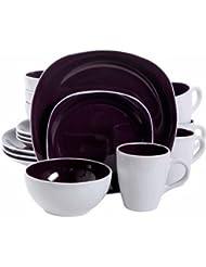 Gibson Home 16-Piece Cadence Square Gray Dinnerware Set - Stoneware (Purple)