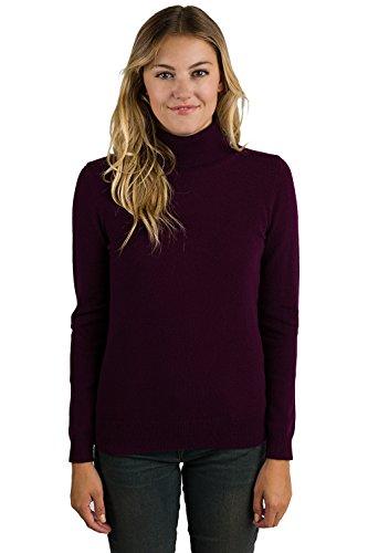 JENNIE LIU Women's 100% Pure Cashmere Long Sleeve Pullover Turtleneck Sweater (M, Plum) by JENNIE LIU