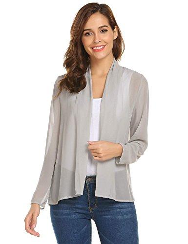 Concep Chiffon Cover up Cardigan Women's Kimono Blouse Beachwear Swimsuit Beach Shrug Light Grey (Beach Shrug)