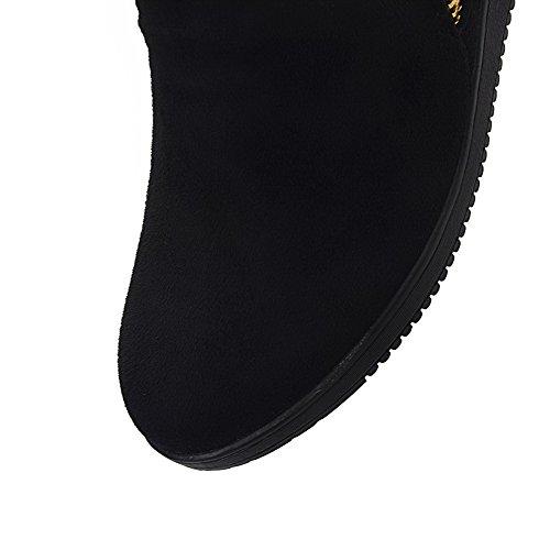 AgooLar Women's Low-top Zipper Frosted Kitten-Heels Round Closed Toe Boots Black AnlON