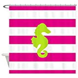 Hot Pink and Lime Green Shower Curtain CafePress - Hot Pink Stripes And Green Seahorse - Decorative Fabric Shower Curtain (69