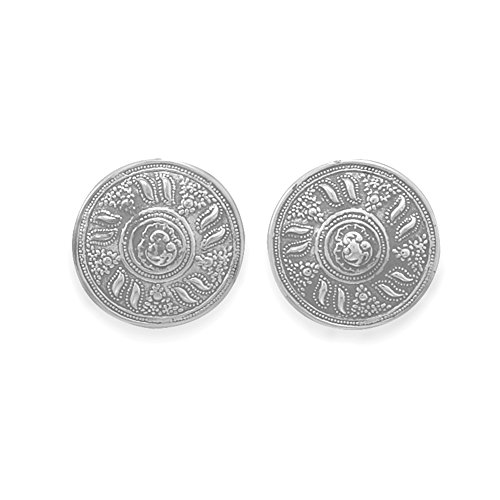 Clip-On Earrings Round Button Antique Vintage Sterling (Vintage Button Earrings)
