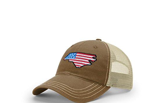 STATEE North Carolina American Flag Relaxed Fit Mesh Hat - Cap Flag State