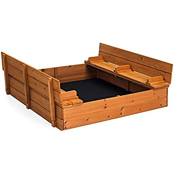 Best Choice Products 47x47in Kids Large Square Wooden Outdoor Play Cedar Sandbox w/Sand Screen, 2 Foldable Bench Seats - Brown