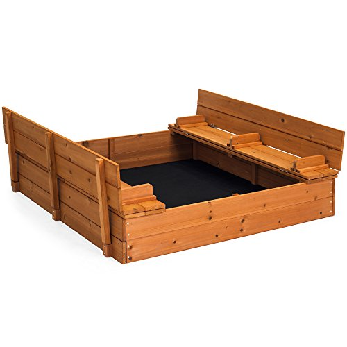 Best Choice Products 47x47in Kids Large Square Wooden Outdoor Play Cedar Sandbox w/ Sand Screen, 2 Foldable Bench Seats - Brown