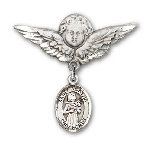 Icecarats Créatrice De Bijoux En Argent Sterling St. Agatha Charme Ange Broche De Badge 1 1/8 X 1 1/8