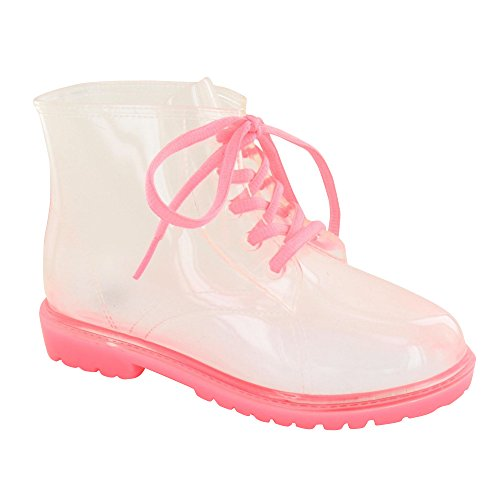 Spot On Childrens Girls Transparent Lace Up Jelly Boots (1 US) - Boots Pink Transparent