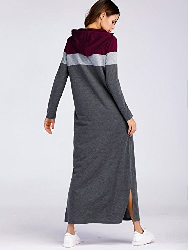 Fashion Sleeves Comfy Maxi Loose Sweatshirts Grey Dress Winter Hoodie 2 Fall Block Casual Long Color Fit Milumia 5Rx488