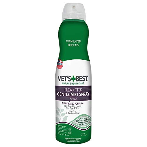 Vet's Best Flea & Tick Gentle-Mist Spray for Cats | Flea Killer with Certified Natural Oils | Gentle-Mist Spray for Easy Application & Control | 6.3 oz (Vet's Best Flea And Tick Spray Ingredients)