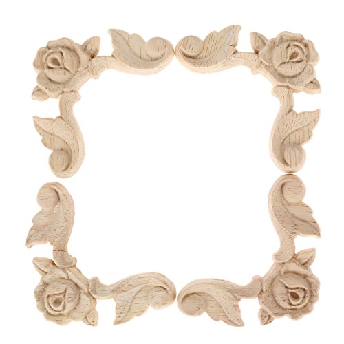 Oak Carving Board (4pcs 6x6x1cm Wood Rose Floral Applique Carved Corner Furniture Home Decor)