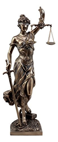 Ebros Gift Bronzed Resin Greek Goddess Lady of Justice Statue 13.5