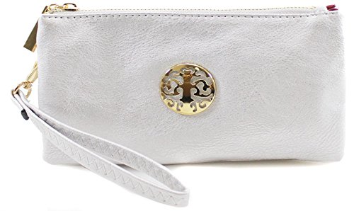 with Wrist Small YDezire Strap and Long Clutch Purse Silver Adjustable Bag Ladies Bags Wristlet wtvRdTxqv