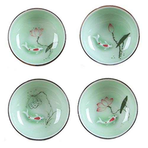 2500 Silk Art High-grade Celadon Hand-painted Lotus Cup Set Green Ceramic Chinese Kung Fu Tea Round Flat Cup 4 Pieces ()