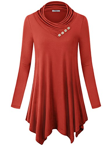 Cestyle Turtle Neck Top for Women, Juniors Turtleneck Long Sleeve Assymetrical Tunic Sweater Comfy Soft Knit T Shirt Dresses Red Orange Medium