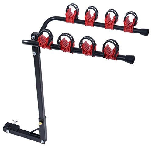 ZENY Car Bike Rack 4-Bike Hitch Mount Rack w/ 2-Inch Receiver Car SUV Swing Away (Capacity: 99lb)