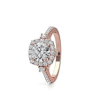 18K Rose Gold 4 Prong Setting Side Stone Halo Engagement Ring Size - 8.25