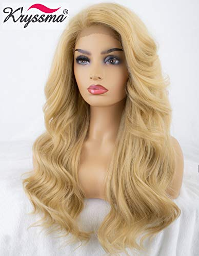 K'ryssma Fashion Light Blonde Lace Front Wig for White Women L Part Long Wavy Synthetic Wigs with 3