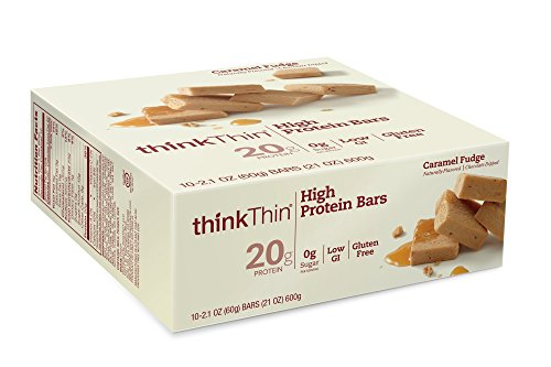 [thinkThin High Protein Bars, Caramel Fudge, 2.1 Ounce (pack of 10)] (Think Thin High Protein Bar Chocolate Fudge)