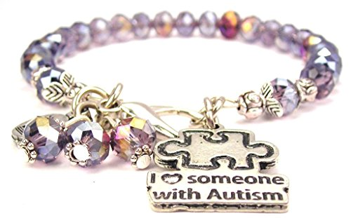 ChubbyChicoCharms Lavender Purple Crystal I Love Someone with Autism Bracelet