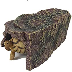 Viper Spider Amphibian Rock Hide Cave - Handcrafted From Premium Non-Toxic Resin, Brown And Moss Green Color, Ideal for Spiders, Frogs, Turtles, Anole, Small