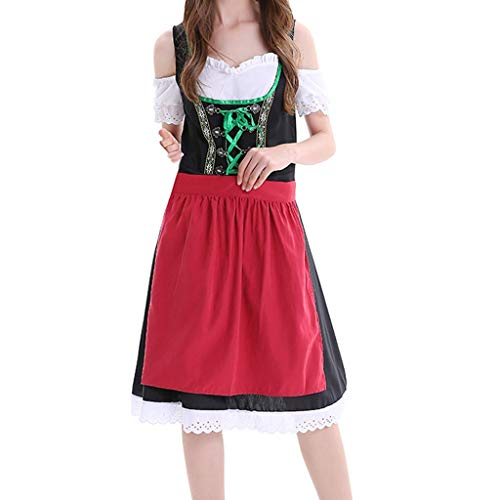 Fiaya Women Dress Halloween Carnival Oktoberfest Beer Festival Cosplay Bavarian Costume German Dirndl Tavern Maid Dress (XXXL, Black A08) -